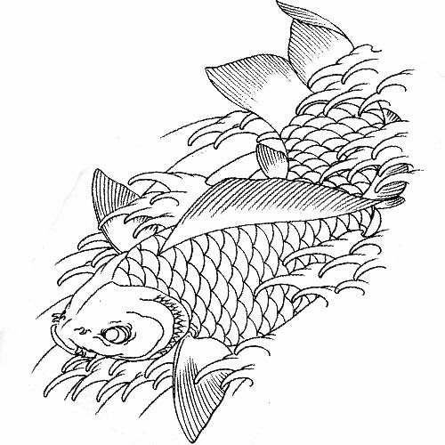 Koi fish on the waves tattoo stencil