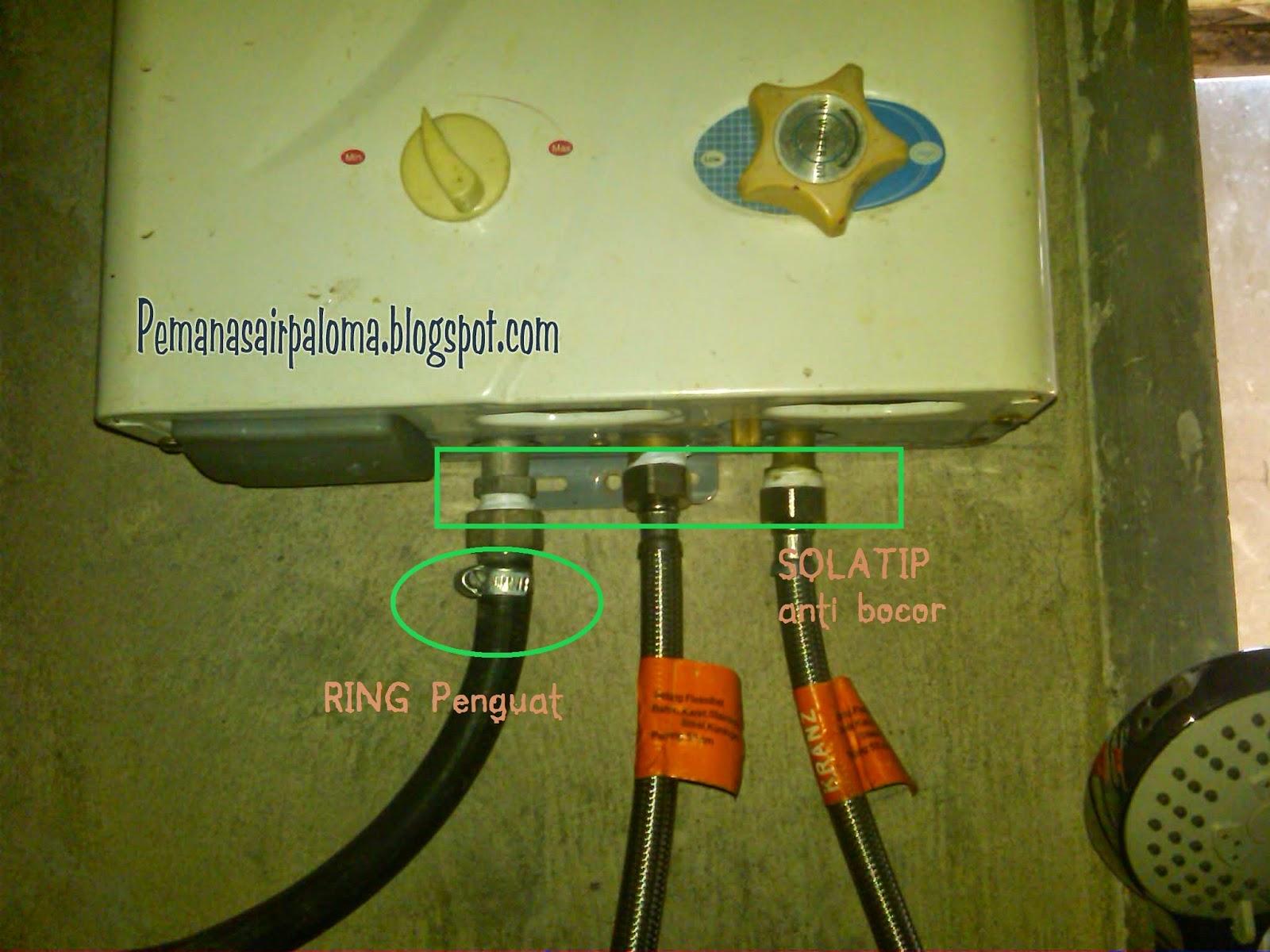 penambahan ring solatip pada selang pemanas air anti bocor