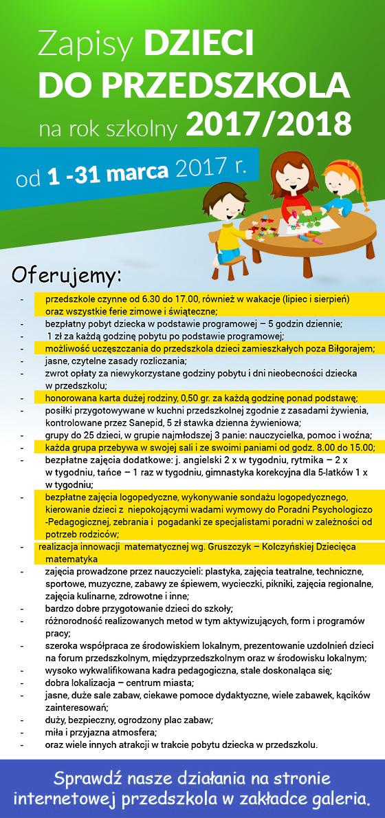 Zapisy dzieci na rok szk. 2017/18