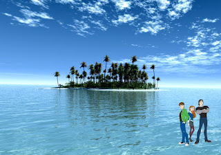 Ben 10 Ten and friends Wallpapers Gwen and Kevin in Paradise Island background