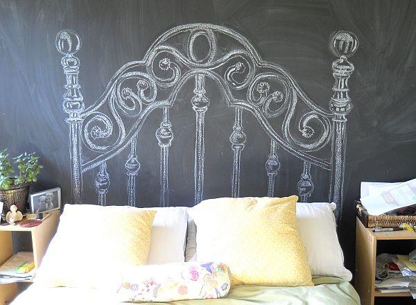 slo debers pintar la pared con pintura para pizarra negra y luego en el lugar donde ira la cabecera de la cama debers dibujar un respaldo
