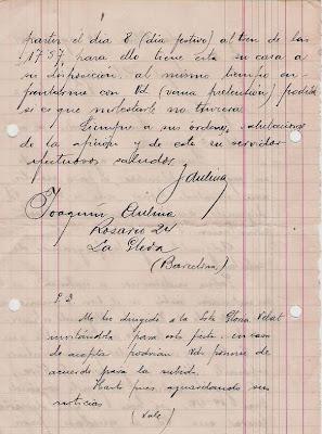 Nueva carta manuscrita de Joaquim Aulina 30 de agosto de 1941 (2)