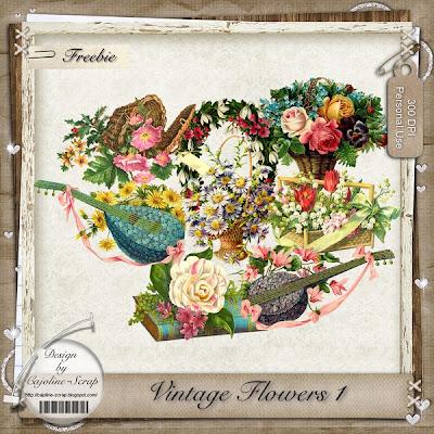 "Free scrapbook elements ""Vintage Flowers"" from Cajoline scrap"