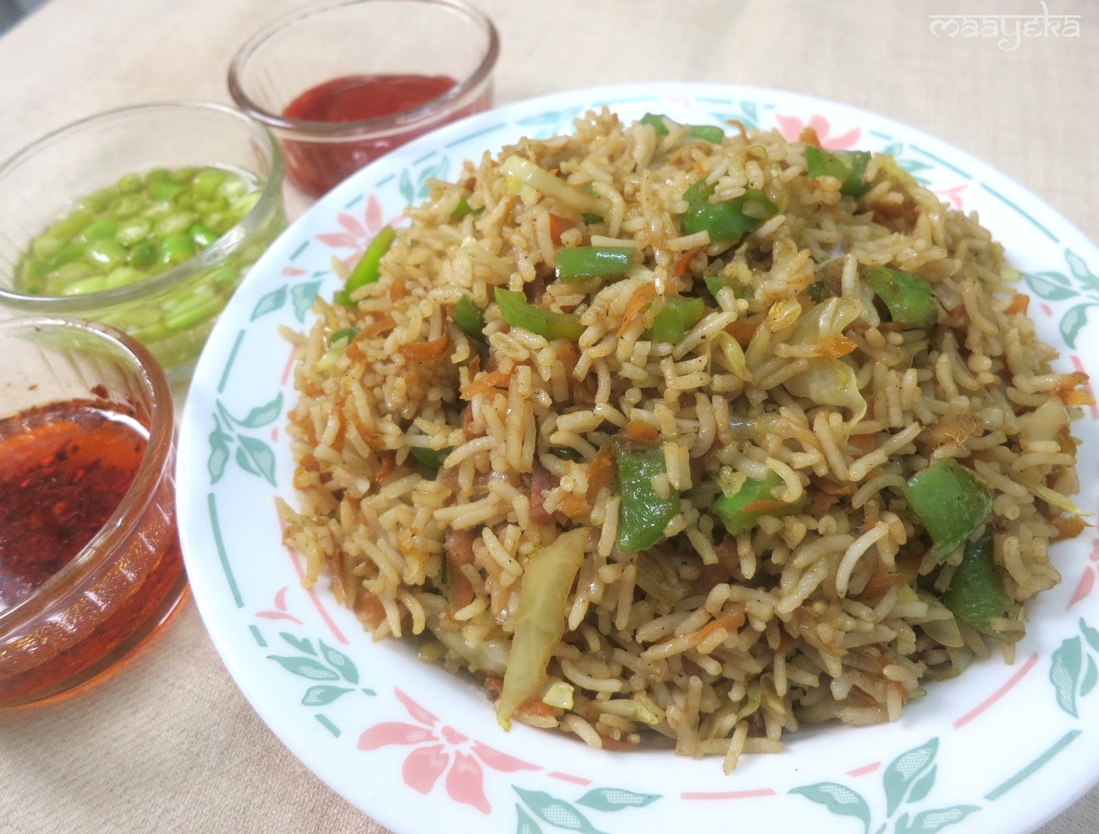 Veg Chinese Fried Rice | Maayeka - Authentic Indian Vegetarian Recipes