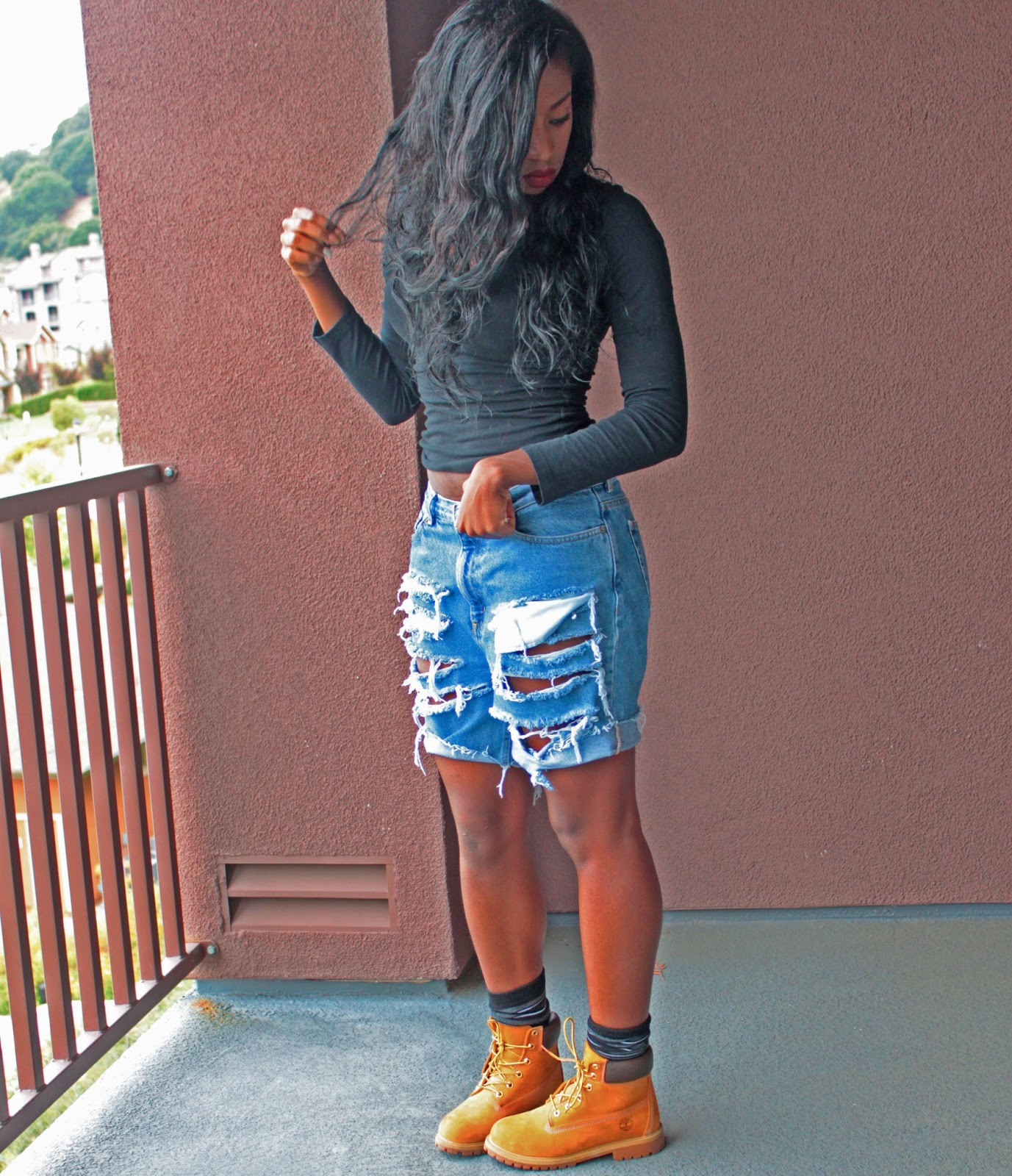 Wearing Timberland Boots With Shorts Top- forever 21; shorts- diy;