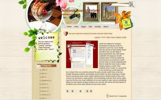 Free Floral Restaurant Blogger Theme Template