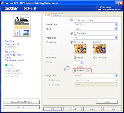 printing preference pada printer brother