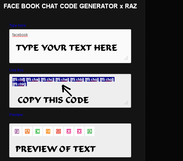 Fb chat codes for mobile