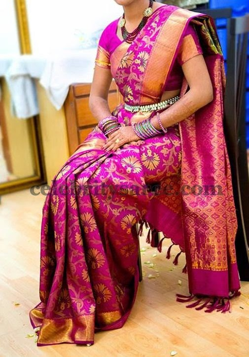 Bride in Pink Floral Saree