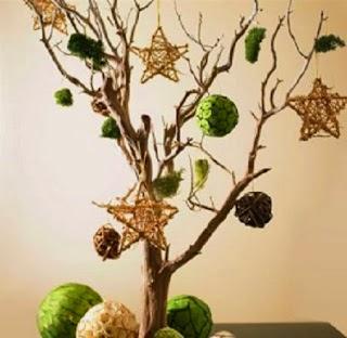 Sapins de Noël avec des Branches Sèches, Décoration Naturel pour Noël
