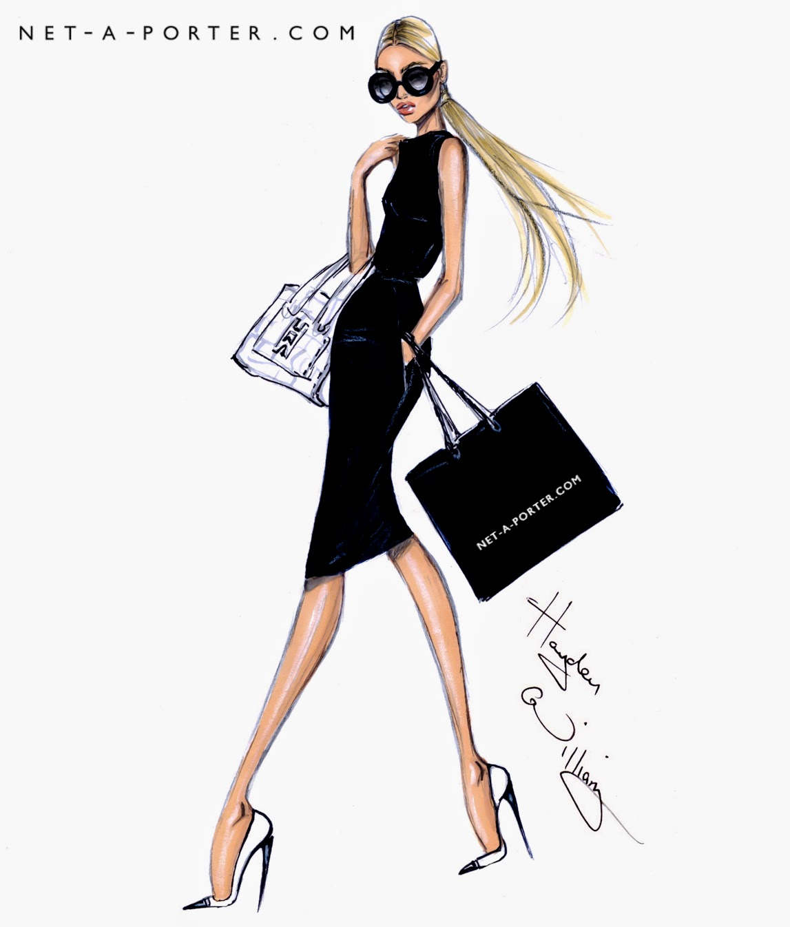 Hayden williams fashion illustrations she shops at net a for Net a porter