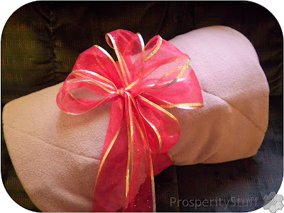 ProsperityStuff Fleece & Jeans Blanket wrapped with bow