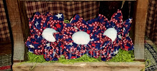 3 *LARGE* AMERICANA STAR FABRIC FLOWERS