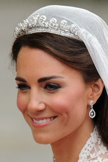 "Kate Middleton chose to wear the Cartier ""halo"" of George III Tiara Design of Wedding Dress from Royal Wedding of Prince William and Kate Middleton by Sarah Burton"