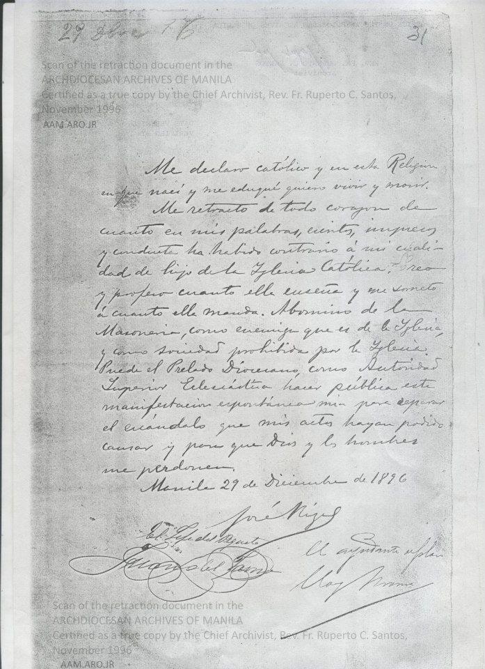 letter of retraction of jose rizal Rizal's retraction palma's jesuit's zafra's video  rizal signed the letter of retraction and then  observation on the document of retraction of dr jose rizal.