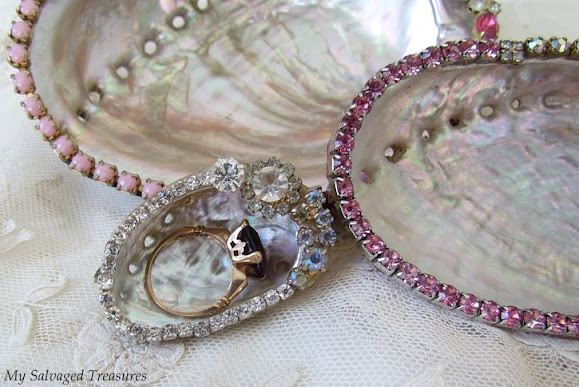 sea shells decorated with vintage jewels