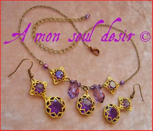 """Parure médiévale renaissance bijoux collier boucles d'oreilles bronze or violet améthyste """"De Pourpre et d'Or"""""""