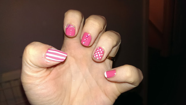Pink nail art - candy stripes, polka dots and more