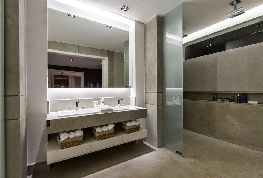 Housing Interiores Decorações  REVESTIMENTOS PARA BANHEIROS -> Banheiro Cinza Moderno