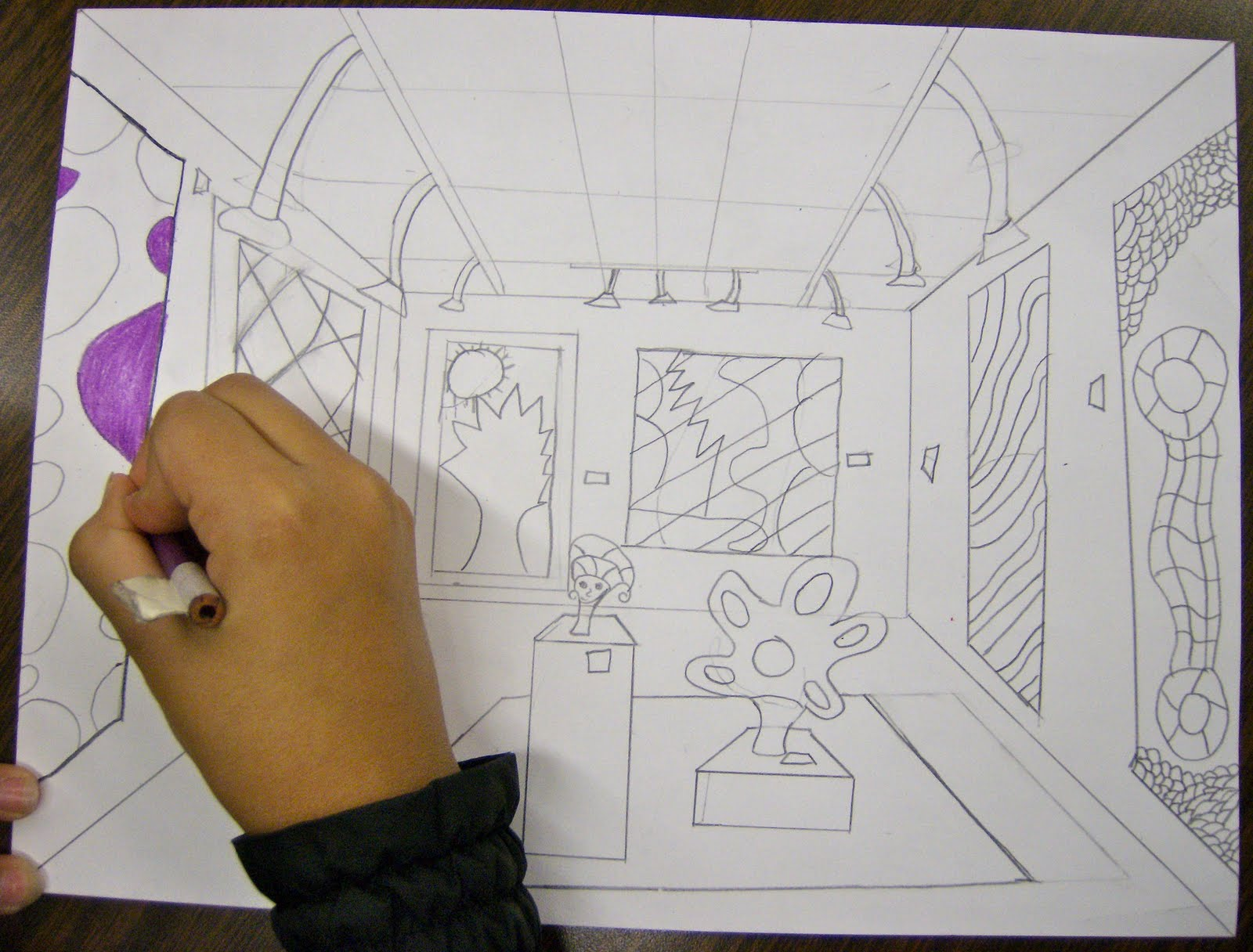 Line Art Lessons For Elementary : Zilker elementary art class th grade perspective drawings