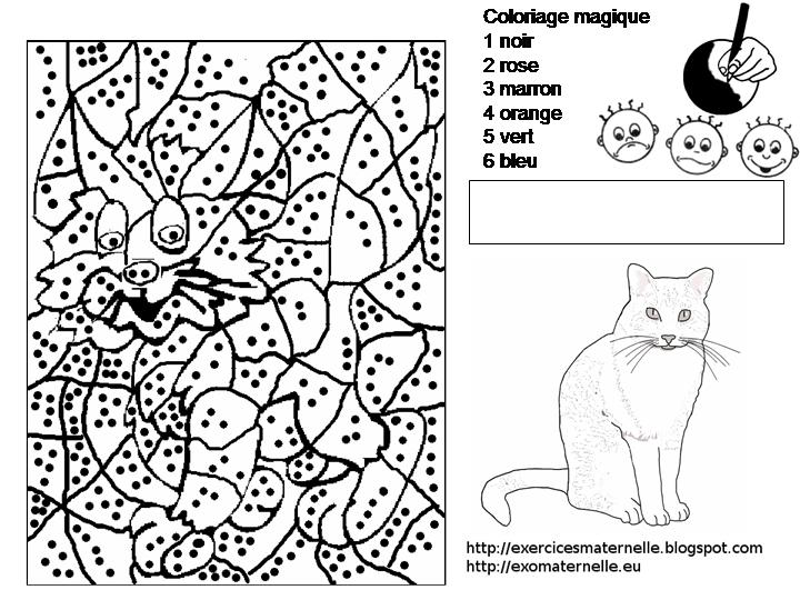 Maternelle coloriage magique un chat - Chat a colorier maternelle ...