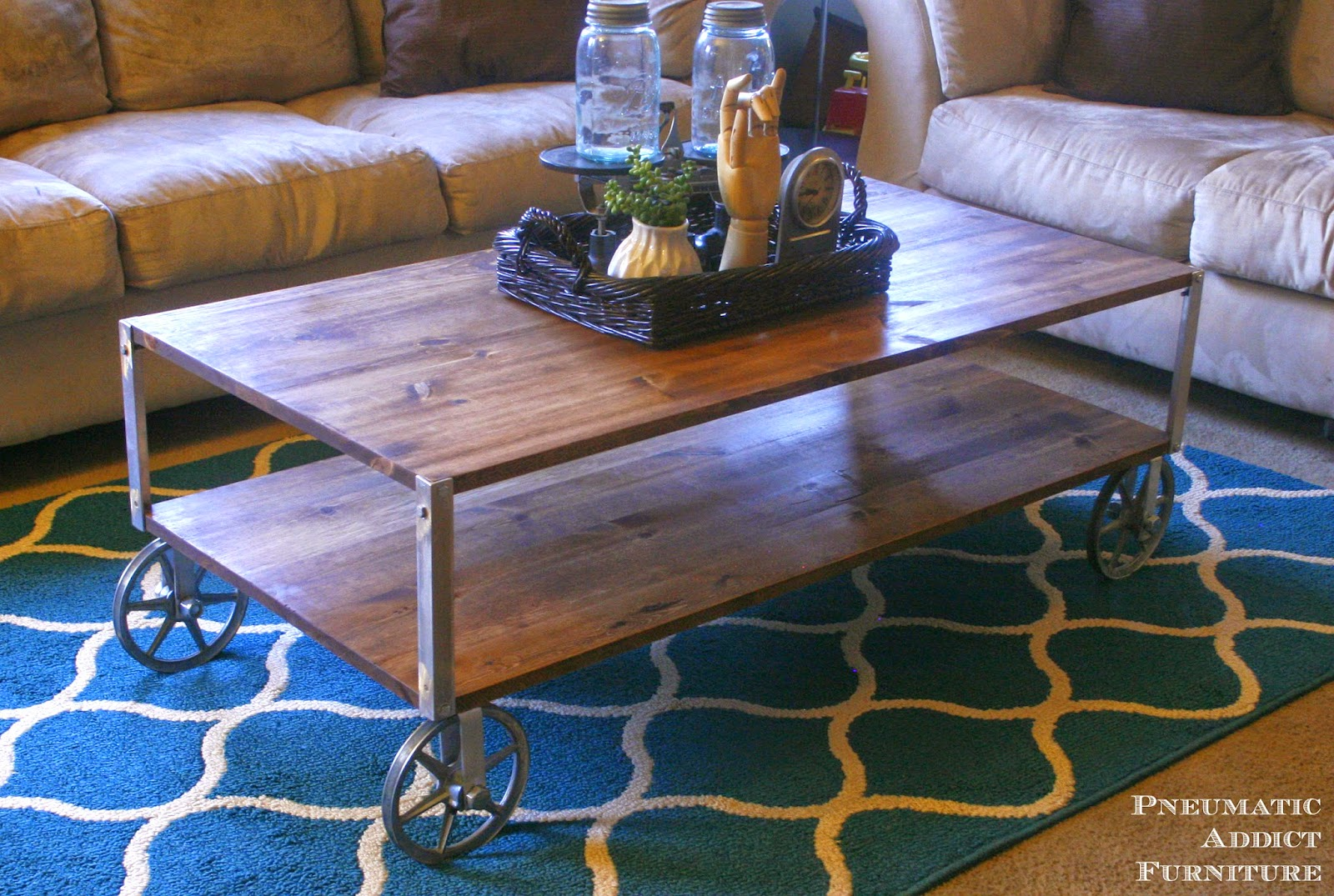 Pneumatic addict easy industrial coffee table no welding for Simple coffee table decor