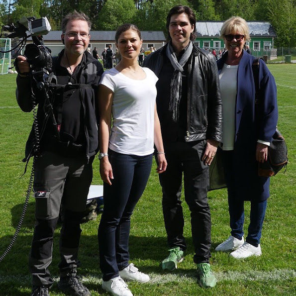 Crown Princess Victoria of Sweden played soccer with a team of children with Down syndrome at the Västerås stadium