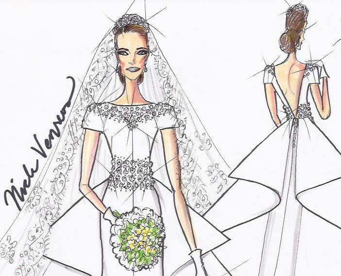 kate middleton wedding dress sketch. A Wedding Gown Fit for a