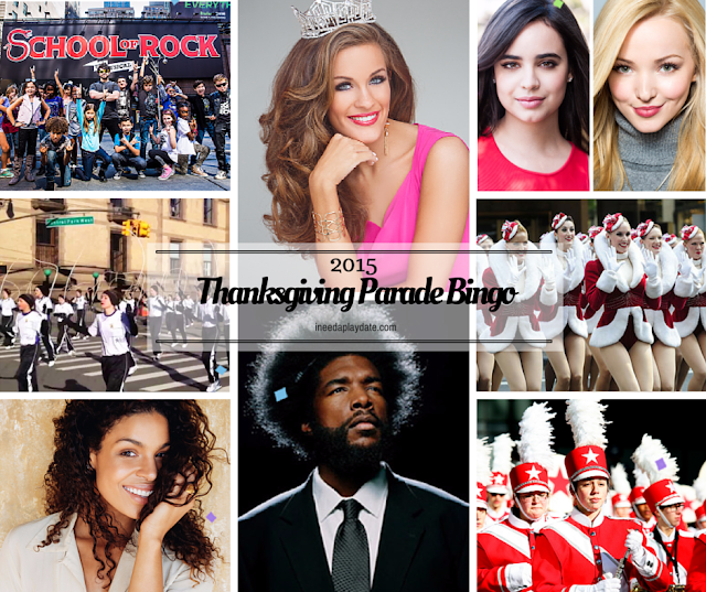 New faces on the Thanksgiving Day Parade Bingo for 2015 {free printable}