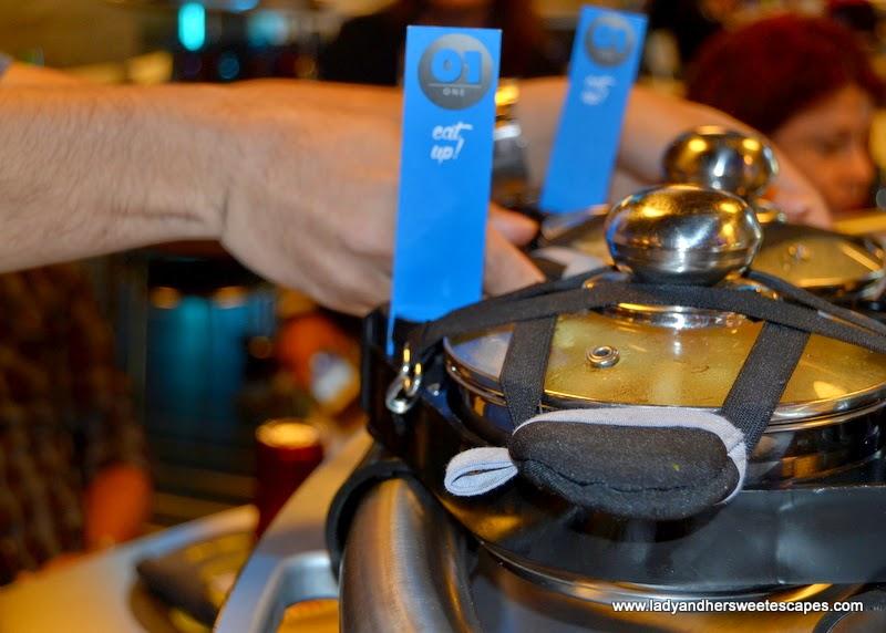 metal pots at Rogo's roller coaster restaurant