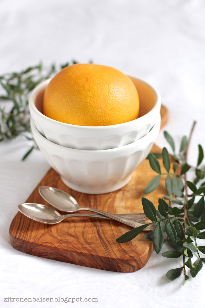 Rezept gebackene Grapefruit mit Vanille-Kokos-Creme und Kokosblütenzucker Zitronenbaiser Blog
