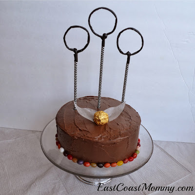 the first cake was a simple quidditch cake