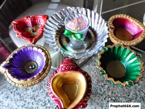 Assorted collection of designer handmade Clay and Glass Diya for Diwali