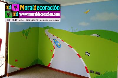 Mural con perspectiva y coche de carreras