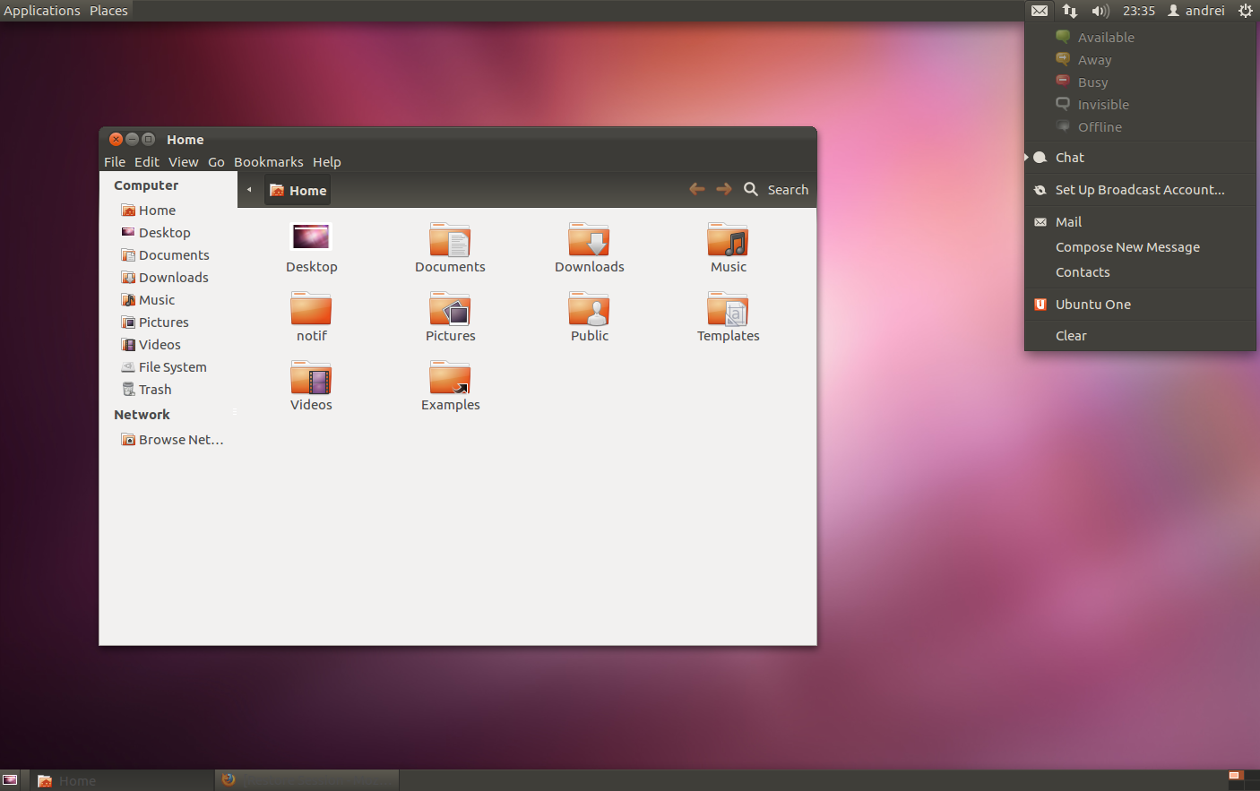 ubuntu messaging menu