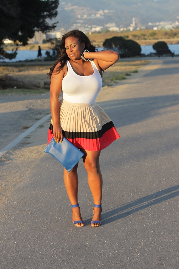 Pleated-color-block-Forever-21-skirt, white tank top, blue strappy heels