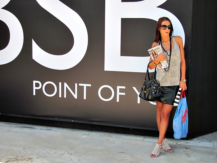 Shopping in Athens, outfit. Jelena Zivanovic, fashion & style blogger. Leopard print top. Leather mini skirt. Lace-up shoes. Shopping in Glyfada, BSB shop.
