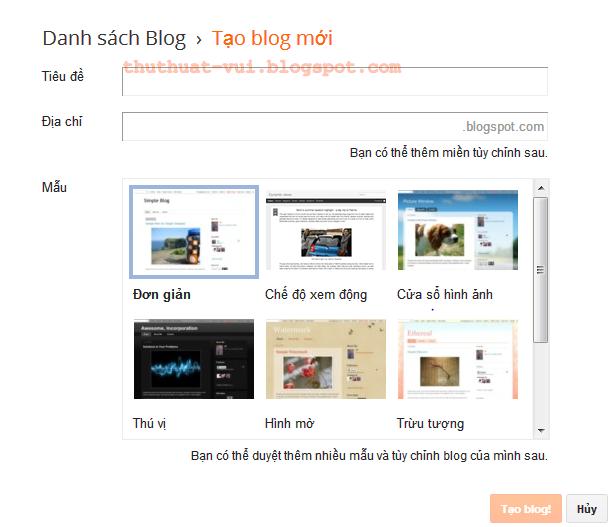 Cách tạo Blog riêng cho mình - miễn phí với Blogger