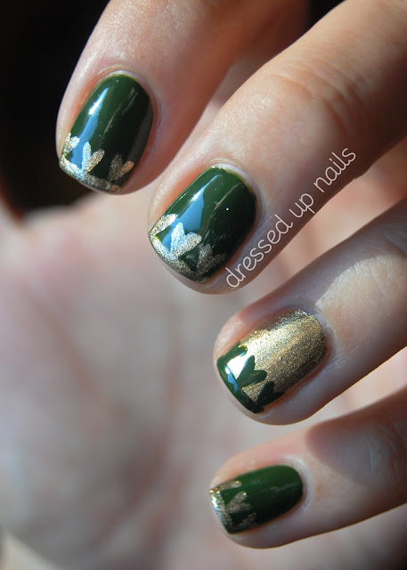 Heart nail art with Zoya Shawn and Sally Hansen Golden-I