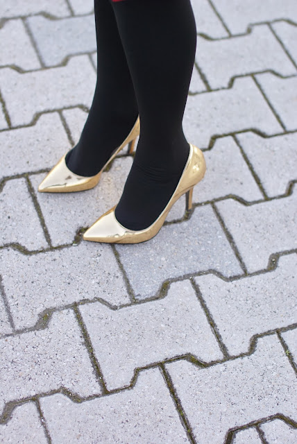 golden pumps, Gaia d'Este shoes, decolleté dorate, Fashion and Cookies, fashion blogger