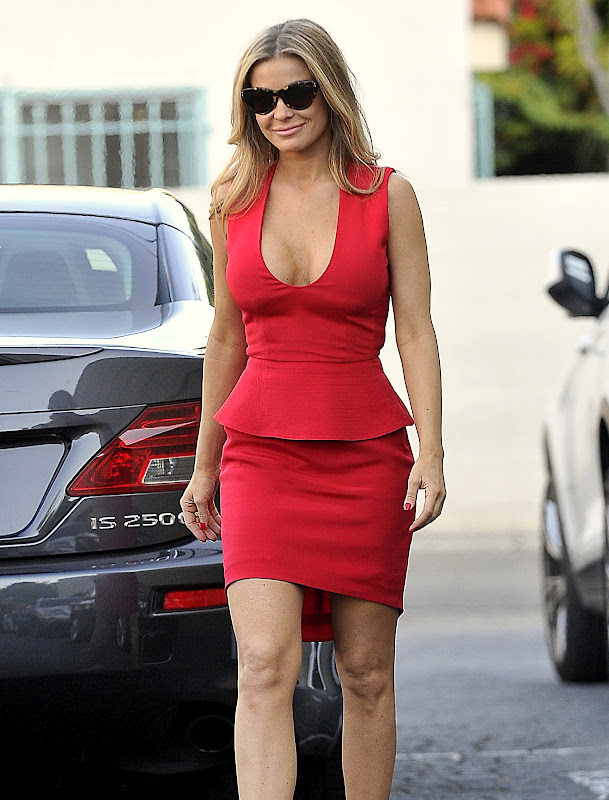 Carmen Electra wearing Red Low Cut Dress in West Hollywood