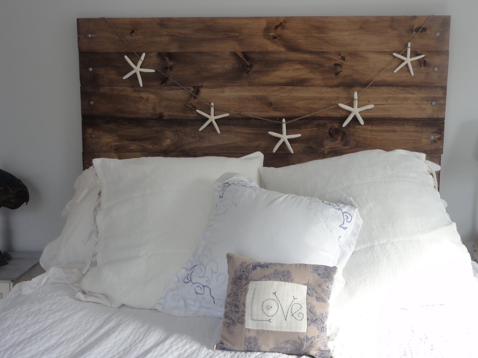 Our new 'reclaimed' wood headboard