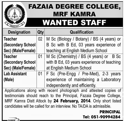 Teaching Jobs in Fazaia Degree College Kamra, Attock