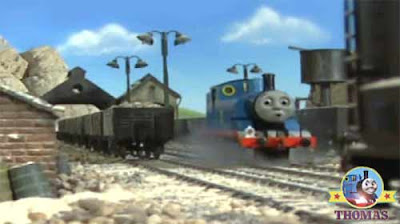 0-6-0 saddle tank Thomas train engine arrived at the rock quarry pit buildings the haunted mine yard