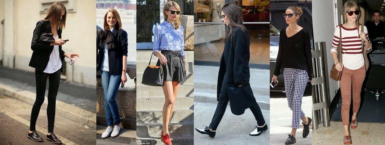 Sapatos oxford - tendencia primavera-verão Street style