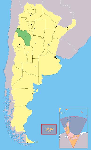 Mapa de localização da província de La Rioja - Argentina