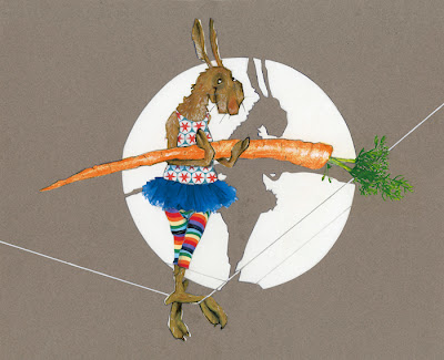 illustration by robert wagt of a tight rope walking circus rabbit holding a carrot