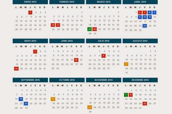 confirmado todos los feriados de 2015