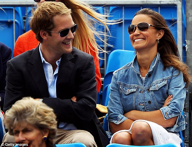 The Queen's club: Glowing Pippa Middleton gets caught in the rain at tennis match