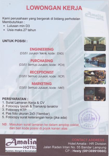Lowongan Kerja Hotel Amalia Bandar Lampung